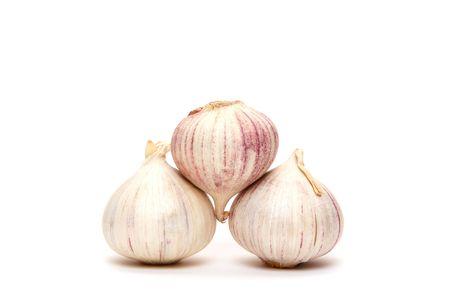 garlics: garlics pyramid isolated on white background