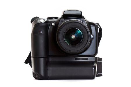 photo camera: macchina fotografica digitale con battery grip isolata on white background