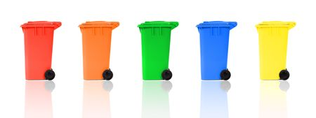 set of recycling bins with reflections Stock Photo - 6926774