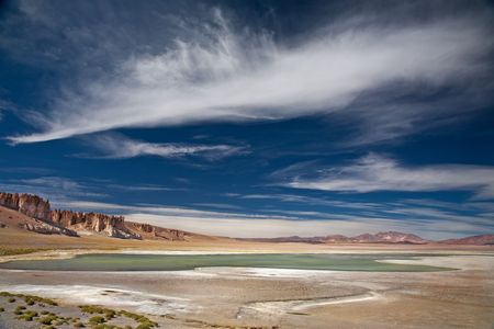 tara: salt lake Salar de Tara, Chile, near the border between Bolivia, Chile and Argentina