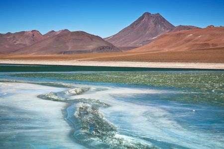 Diamond lagoon in Atacama desert, Chile photo