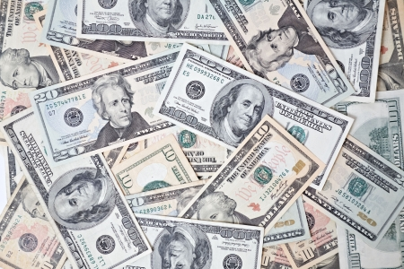 american currency: dollar banknotes background Stock Photo