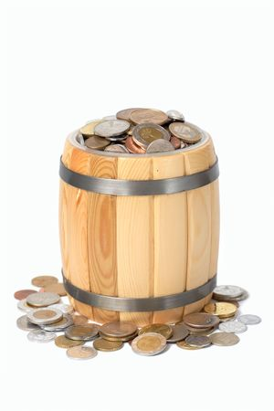 d�bord�: baril avec diverses pi�ces de d�border  Banque d'images
