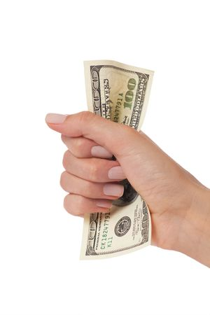 woman hand squeezing hundred dollars photo