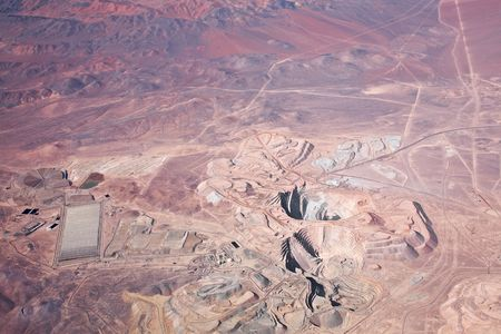 open pit: aerial view of open-pit copper mine in Atacama desert, Chile