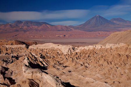 view from Valle de la Muerte (Death Valley) on the volcanoes Licancabur and Juriques, Chile photo