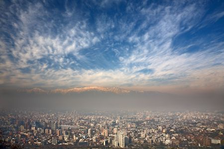 santiago: birdeye view of Andes and Santiago, Chile, view from Cerro San Cristobal Stock Photo