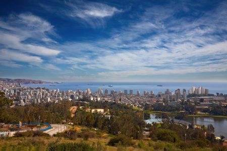 valparaiso: view on Vina del Mar and Valparaiso, Chile Stock Photo