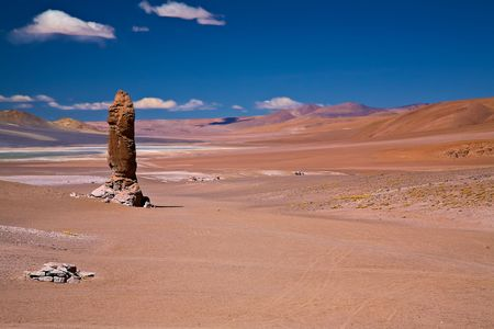 Monolith: geological monolith close to Salar Aguas Calientes and Cerro Losloyo, desert Atacama, Chile