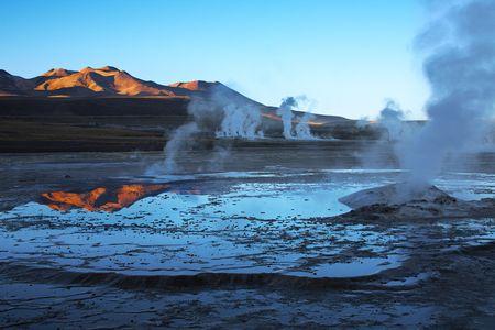 Geyser field El Tatio in Atacama region, Chile photo