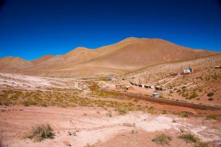 altiplano village Machuca with a typical church near San Pedro de Atacama, Chile Stock Photo - 8064199