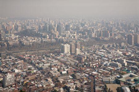 santiago: smog over Santiago, Chile, view from Cerro San Cristobal Stock Photo