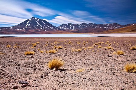 altiplano lagoon Miscanti close to cerro Miscanti, desert Atacama, Chile photo