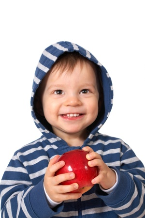 laughing baby with red apple photo