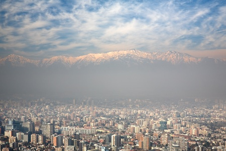 haze: birdeye view of Andes and Santiago, Chile, view from Cerro San Cristobal Stock Photo