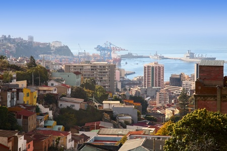 valparaiso: view on large dock Valparaiso in Chile Stock Photo