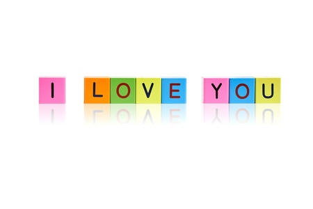 phrase I love you formed from wooden letter blocks Stock Photo - 8820545