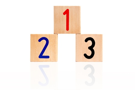 number 123 from letter wooden blocks as a podium photo