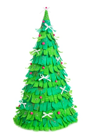 xmas crafts: handmade paper christmas tree isolated on white background