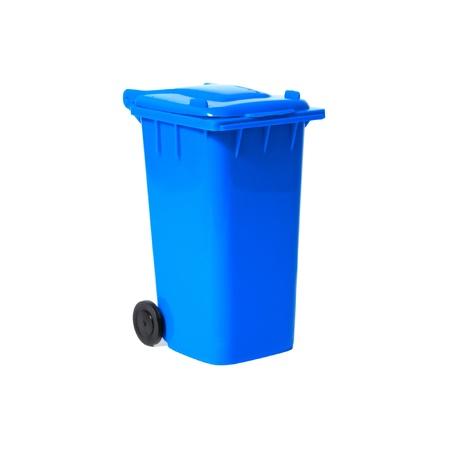 dumpster: blue empty recycling bin