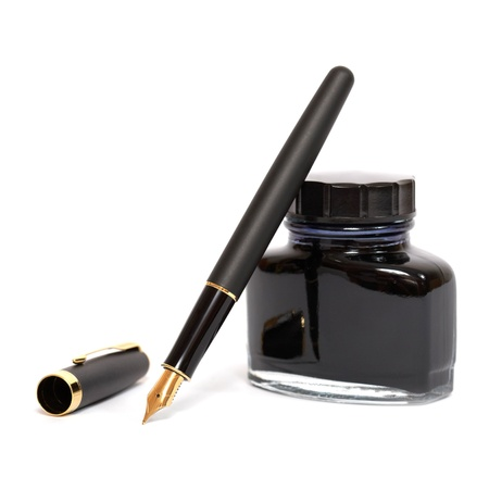 ink: fountain pen with ink bottle