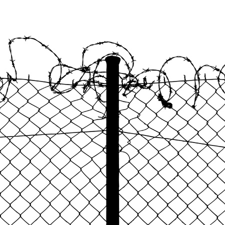 jail background: fence with barbed wires
