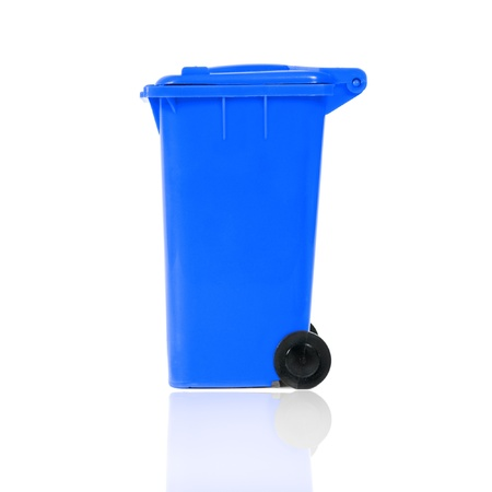 empty blue recycling bin photo