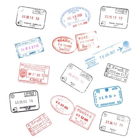 pasaporte: conjunto de varios sellos de visa de pasaporte