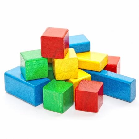 heap of color wooden bricks photo