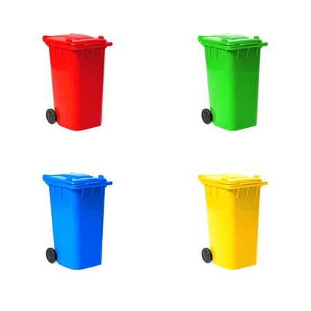 set of various empty recycling bins photo