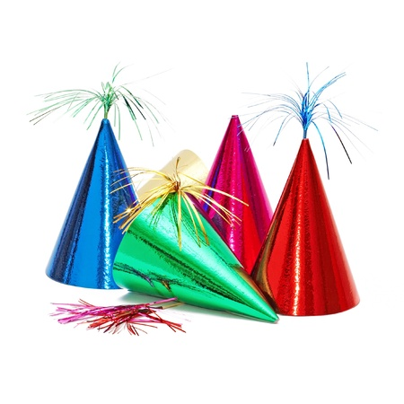 cone: birthday party hats on white background
