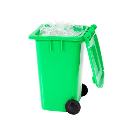 full green recycling bin with plastic Stock Photo - 9266094