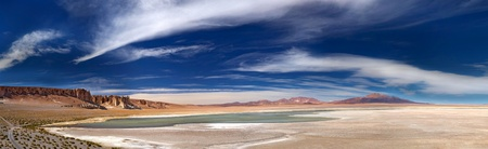 panoramic view of salt lake Salar de Tara, Chile photo