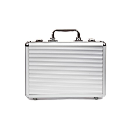 case: metallic suitcase on white background