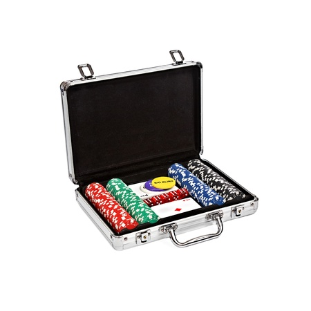 black briefcase: set for poker in suitcase on white background