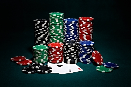 poker game: chips for poker with pair of aces