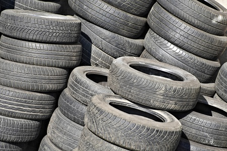 pile of used tyres photo