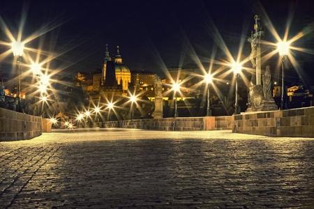 Charles bridge in Prague with lanterns Stock Photo - 9623937