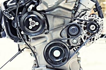 mechanical: pulleys with belt in the car motor Stock Photo