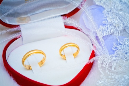 golden wedding rings in a box Stock Photo - 9668375