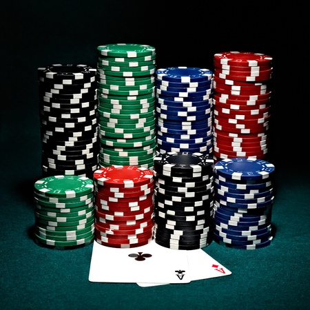 chips for poker with pair of aces photo