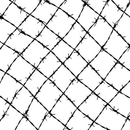 fence from barbed wires isolated on white background Stock Vector - 9737859