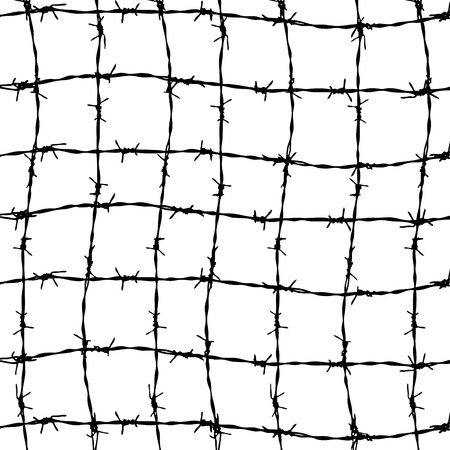 stockade: fence from barbed wires isolated on white background