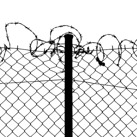 wired fence with barbed wires Stock Vector - 9877683
