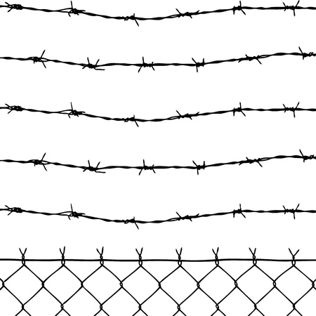 wire mesh: wired fence with five barbed wires Illustration