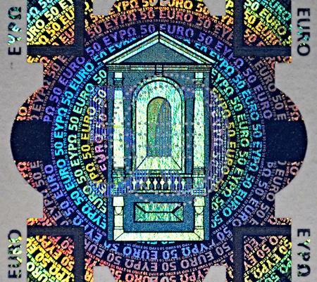 holographische Patch der 50-Euro-banknote