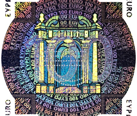 one hundred euro banknote: holographic patch of one hundred Euro banknote
