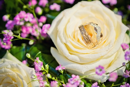 wedding rings with bouquet from roses photo