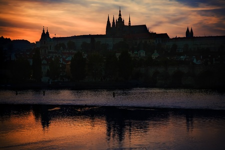 Prague Castle silhouette at sunset light photo