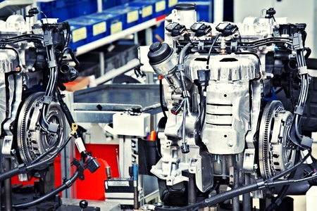 asamblea: fabricaci�n de motores de autom�vil Foto de archivo